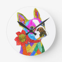 Cute and Colorful Boston Terrier Clock