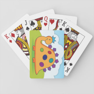 Cute and colorful cartoon dinosaur playing cards