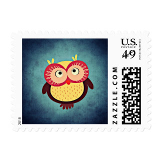 Cute and Colorful Cartoon Owl Stamp