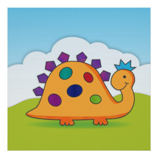 Cute and colorful cartoon spotted dinosaur poster