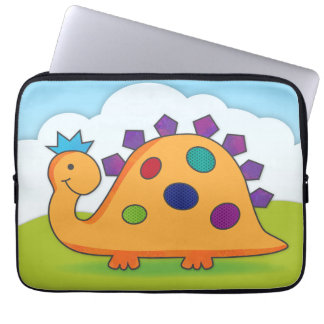 Cute and colorful cartoon spotted dinosaur sleeve laptop sleeve