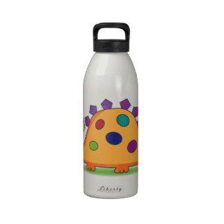 Cute and colorful cartoon spotted dinosaur water bottles