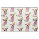 Cute and Colorful Chihuahua Fabric