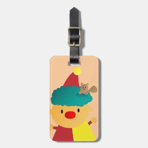 Cute and Colorful Clown with squirrel in hair Tags For Bags