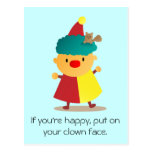 Cute and Colorful Clown with squirrel in hair Postcards