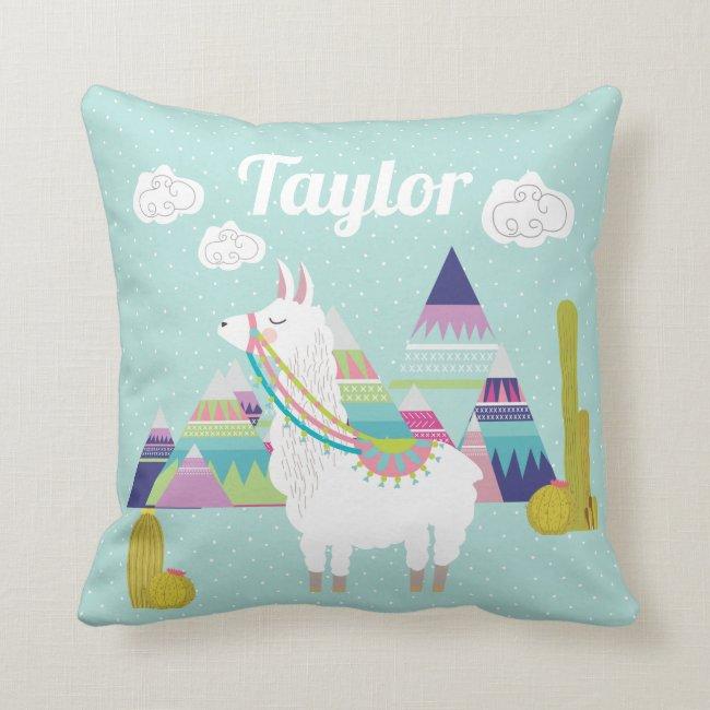Cute and Colorful Desert Alpaca Nursery Throw Pillow