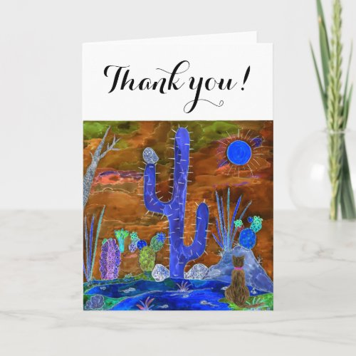 Cute and Colorful Desert Cat Greeting Card