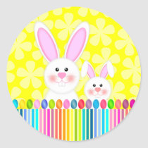 Cute and Colorful Easter Bunny Classic Round Sticker