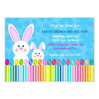 "Cute and Colorful Easter Bunny Invitation 5"" X 7"" Invitation Card"