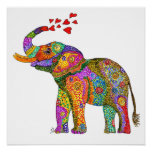 """Cute and Colorful Elephant Poster 20"""" x 20"""""""