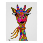 """Cute and Colorful Giraffe Poster 16x20"""""""