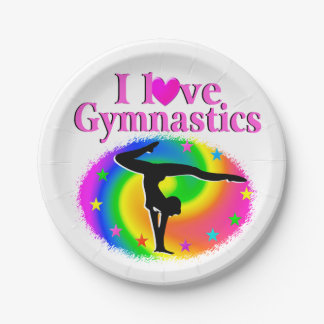 CUTE AND COLORFUL I LOVE GYMNASTICS DESIGN 7 INCH PAPER PLATE