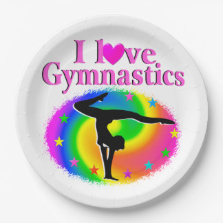 CUTE AND COLORFUL I LOVE GYMNASTICS DESIGN 9 INCH PAPER PLATE