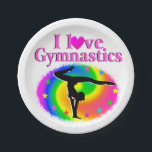 "CUTE AND COLORFUL I LOVE GYMNASTICS DESIGN PAPER PLATE<br><div class=""desc"">This cute and adorable Gymnast will be thrilled to get this pretty rainbow I love Gymnastics design on Tees, Apparel, Gifts, Jewelry, Bedroom Decor, and more. This awesome Gymnast is pursuing her goals and dreams to become a first place Gymnastics Champion. This terrific Gymnastics gift is perfect for Birthdays, Holidays,...</div>"