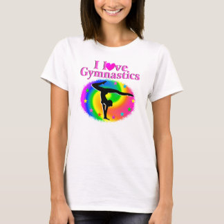 CUTE AND COLORFUL I LOVE GYMNASTICS DESIGN T-Shirt
