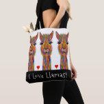 Cute and Colorful I Love Llamas Tote Bag