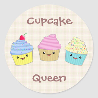 Cute and Colorful Kawaii Cupcake Trio Classic Round Sticker