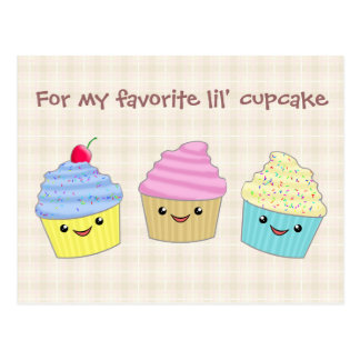 Cute and Colorful Kawaii Cupcake Trio Post Cards