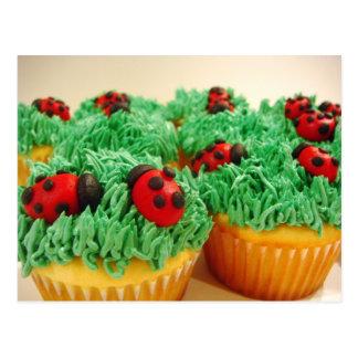 Cute and colorful ladybug cupcakes postcard