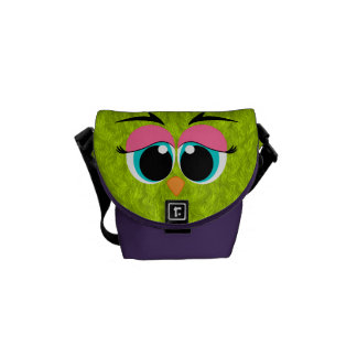 Cute and Colorful Lime Green Furry Bird Aqua Eyes Messenger Bag