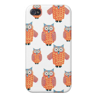 Cute and Colorful Little Owls Pattern iPhone 4 Cases