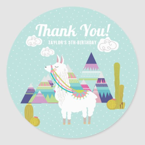 Cute and Colorful Llama Birthday Thank You Sticker