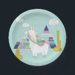 """Cute and Colorful Llama Personalized Paper Plates<br><div class=""""desc"""">Bright and colorful paper plates featuring illustrations of cute llama,  colorful pyramids and succulents. Perfect for birthday parties and similar events.</div>"""