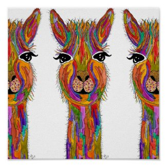 Cute and Colorful Llama Poster - 12