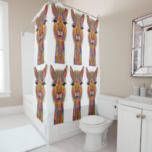 Cute And Colorful Llama Shower Curtain