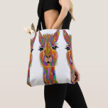 "Cute and Colorful Llama Tote Bag<br><div class=""desc"">A fun, colorful and whimsical hand-drawn and painted Llama named &quot;Lucy the Llama&quot;. This colorful tote is a perfect gift for the llama lover in your life or for yourself. I hope it makes you happy . . . that is my goal and passion! ♥ You can be creative and...</div>"