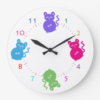 Cute and Colorful Mice Get into Mischief Wall Clock
