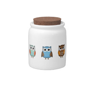 Cute and Colorful Owls Candy Dish