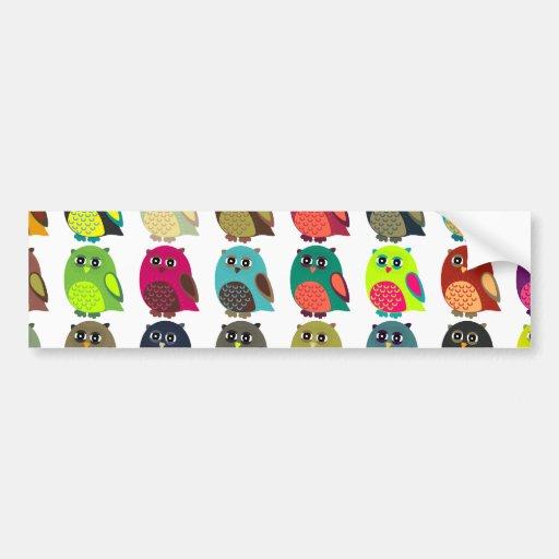Cute and Colorful Owls Car Bumper Sticker