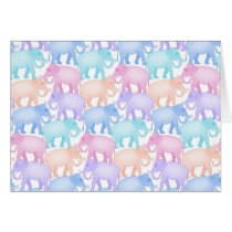 Cute and Colorful Pastel Elephant Pattern Card
