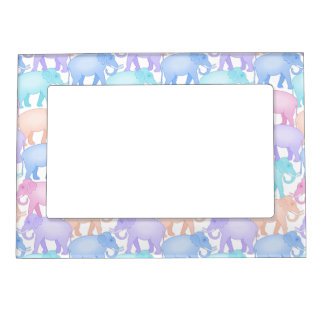 Cute and Colorful Pastel Elephant Pattern Magnetic Frame