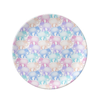 Cute and Colorful Pastel Elephant Pattern Porcelain Plate