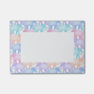 Cute and Colorful Pastel Elephant Pattern Post-it® Notes