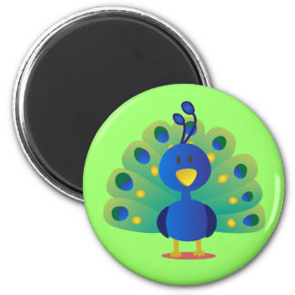 Cute and colorful peacock vector art magnet