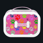 """Cute and Colorful Pet Paw Prints Pattern Monogram Lunch Box<br><div class=""""desc"""">Cute and Colorful Pet Paw Prints Pattern Monogram</div>"""