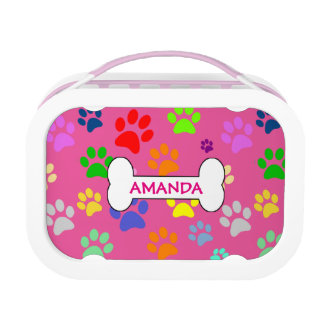 Cute and Colorful Pet Paw Prints Pattern Monogram Lunch Box