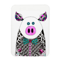"""Cute and Colorful Pig Magnet 3"""" x 4"""""""
