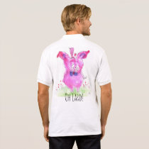Cute and Colorful Pink Pig and a Bird Polo Shirt