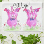 Cute and Colorful Pink Pig Kitchen Towel