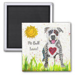 Cute and Colorful Pit Bull Magnet 2""