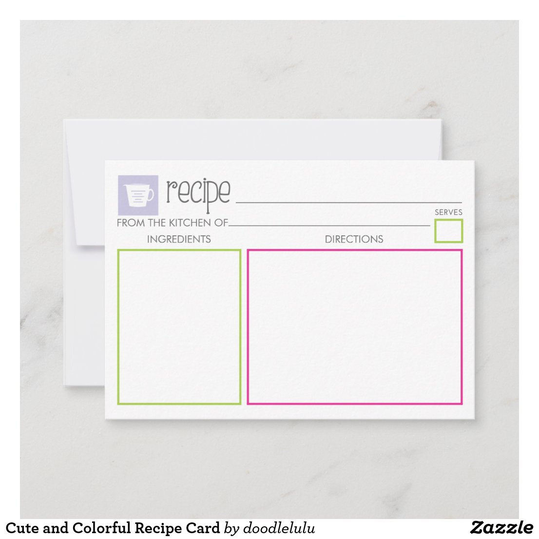 Cute and Colorful Recipe Card