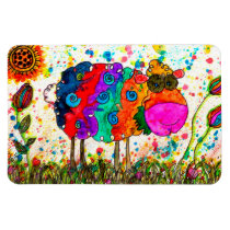 "Cute and Colorful Sheep Magnet 3""x4"""