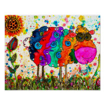 "Cute and Colorful Sheep Poster - 10"" x 8"""
