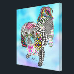 """Cute and Colorful Shih Tzu Wrapped Canvas 24&quot;x24&quot;<br><div class=""""desc"""">A fun, colorful and whimsical hand-drawn and painted Shih Tzu/Poodle mix named &quot;Bella&quot;. This colorful canvas is a fun gift for the Shih Tzu lover in your life or for yourself and is sure to brighten up any room. I hope it makes you happy . . . that is my...</div>"""