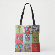 Cute and Colorful Zoo and Farm Animals Tote Bag