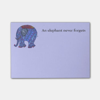 Cute and colourful blue doodle elephant on blue post-it® notes